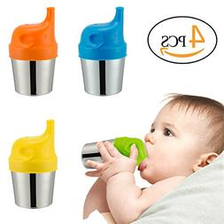Biubee 4 Pack Stainless Steel Sippy Cups with 4 pcs Silicone