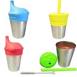 Stainless Steel Sippy Cups For Toddlers & Kids With Silicone
