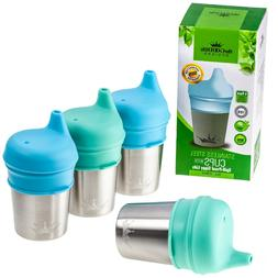 Stainless Steel Sippy Cups with Silicone Lids | 8oz |4 Cups