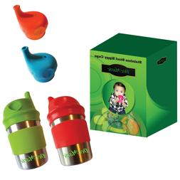 Stainless Steel Sippy Cups with Silicone Lids