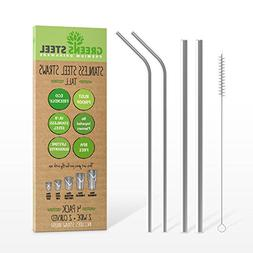 Stainless Steel Straw Set - Reusable Pack of 2 Curved & 2 Wi