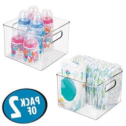 mDesign Storage Organizer Container Bin with Handles for Bab