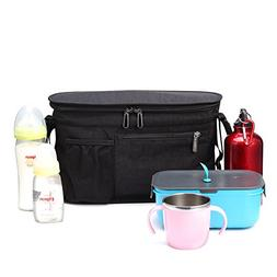 Stroller Organizer, Insulated Cooler Bag with Diaper Bag for