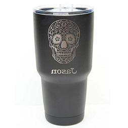 Sugar Skull Tumbler - 30 oz Black Stainless Steel Personaliz