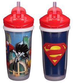 Superman Batman 2 Sippy Cups Set Straw Cups 9oz Spill/Leak P