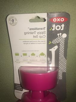 OXO TOT transitions sippy cup with removable handles, PINK,