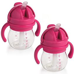 OXO TOT Transitions Straw Cup with Removable Handles, Pink,