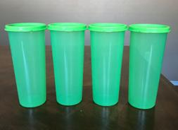 TUPPERWARE GREEN TUMBLERS SET WITH LIDS !!!!!