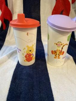 Tupperware Pooh And Tigger Tumblers With Sippy Cup Lids New