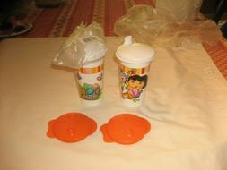TUPPERWARE SET OF  DORA THE EXPLORER 10oz SIPPY CUPS  SEALS