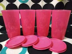 Tupperware Set of 4 Small Tumblers Straight Side Cups Pink 1