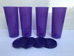 Tupperware Tumblers Straight Set of 4 PURPLE color w/ lids 1