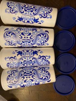Tupperware Tumblers Talavera Blue Wave With Lids Set of 4 Cu