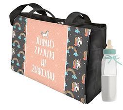 Unicorns Diaper Bag - Front & Back