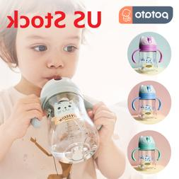 US Baby Cup Toddler Feeding Drinking Water Straw Bottle Sipp