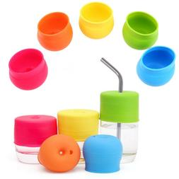 US Silicone Sippy Cup Lid Straw Leak Spill-Proof Bottle Cove