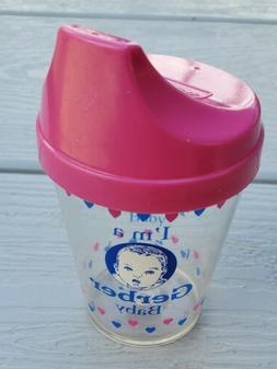 """Vintage 1990 Gerber """"I'm A Gerber Baby"""" 4 Fl. Oz. Sippy Cup"""