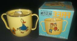 Vtg Baby Training Cup W/ Ducks in Box Sippy Cup W/ Lid From