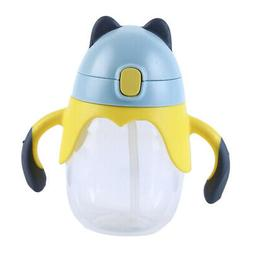 Child Drinking Cup Plastic Straw Cup with Handle Baby Sippy