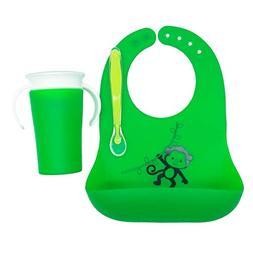 Waterproof Baby Bundle - Includes Silicon Baby Bib, Sippy Cu