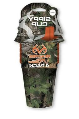 Realtree Xtra Green Camo Sippy Cups With Orange Lids, 10oz,