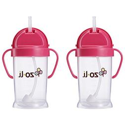 Zoli Baby Bot XL Straw Sippy Cup 9 oz - 2 Pack, Pink/Pink
