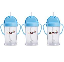 Zoli Baby Bot XL Straw Sippy Cup 9 oz - 3 Pack, Blue/Blue/Bl