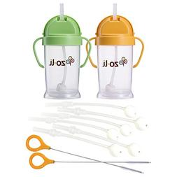 ZoLi Baby Bot XL 9 Ounce Straw Sippy Cup, 2 Pack with Replac