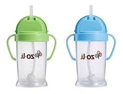 Zoli Baby Bot XL Straw Sippy Cup 9 oz - 2 Pack, Blue/Green