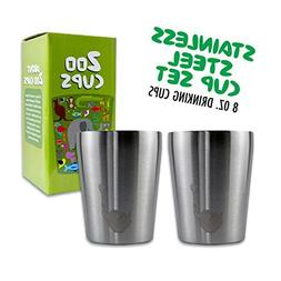 Zoo Cups Stainless Steel Cup Set for Kids, 2 Double Wall Ins